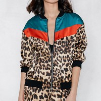 Can't Fight This Feline Leopard Bomber Jacket