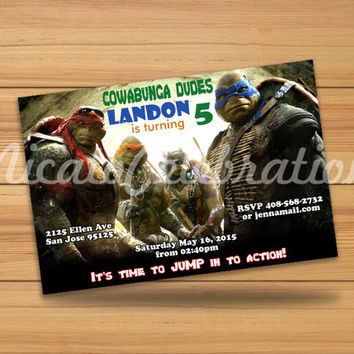 Teenage Mutant Ninja Turtles Inspired TMNT Design Invitaion - Digital File