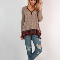 Plaid Hem Patchwork V Neck Sweater Shirt