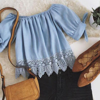 Lace Stitching Chiffon Shirt