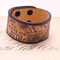 Leather Bracelet Etched Copper Bird Flowers Hand stamped Not All Those Who Wander Navy Leather