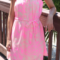 Polynesian Breeze Neon Pink Tube Dress
