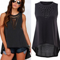 womens  sleeveless t-shirts hollow out tee gift 126