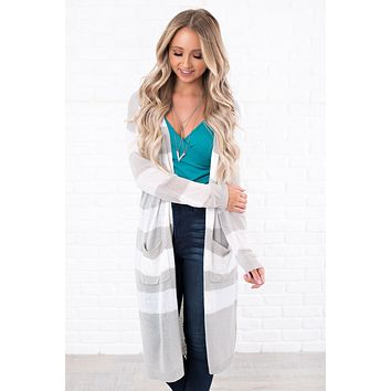 Pardon Me Striped Cardigan (Grey)