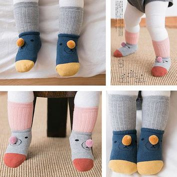 NewBorn Infant Baby Spring And Autumn Anti-slip Socks Boys Girls Cute Cartoon Cotton Toddler Socks Suitable For 0-3 Years Old