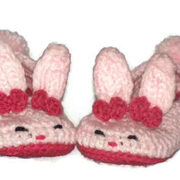 Toddler Bunny Slippers, Bunny Slippers, Crochet, Pink