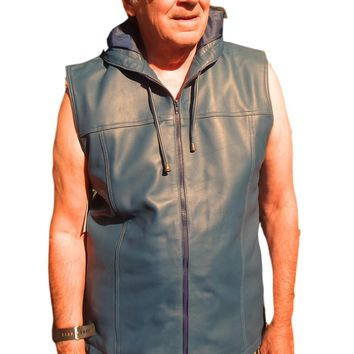 Mens Leather Hooded Hoodie Shirt Zip up Sleeveless Nappa Sheepskin Ash Blue