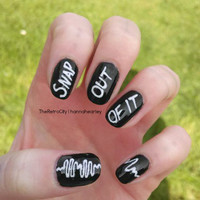 Arctic Monkeys Nail Art, Fake, False, Acrylic, Handpainted, Press On Nail Set
