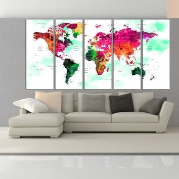 extra Large Push Pin world map wall art print, travel map wall art, push pin world map canvas print  with countries for large wall No:6S05