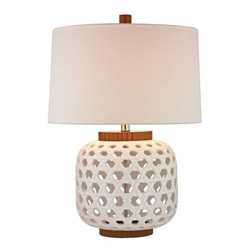D346 Woven Ceramic Table Lamp in White And Wood Tone