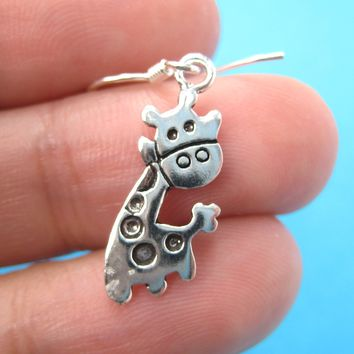 Cute Giraffe Shaped Animal Dangle Earrings with Sterling Silver Earring Hooks