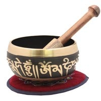 Tibetan Meditation Om Mani Padme Hum Peace Singing Bowl With Mallet