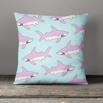 Decorative Throw Pillow, Cushion Cover, Cotton Pillow Cover, Decorative Pillows, Decorative Cushion, Home Decor, Animal Cushion, Sharks