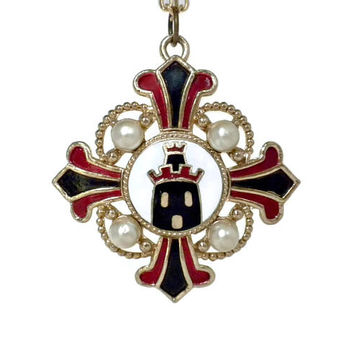 Castle Pendant by Coro - Cross Necklace, Heraldic Pendant, Castle Jewelry, Heraldic Jewelry, Red White Black Necklace, Coro Jewelry