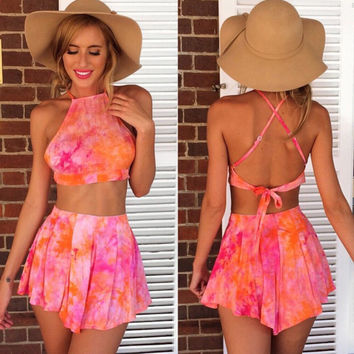 Print Backless Crop Top with Shorts Two Pieces Dress Set