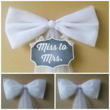 Bridal Shower Decoration Set, Bachelorette Party Decoration Set, Miss to Mrs, Bridal Shower Bow, Various Colors, Mailbox Door Decoration