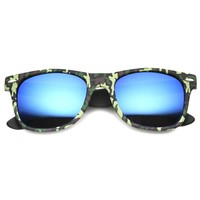 Unisex Horn Rimmed Sunglasses With UV400 Protected Mirrored Lens