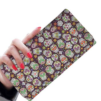 Colorful Skulls [Day of the Dead] Calavera Sugar Skulls Women's Clutch Purse Wallet