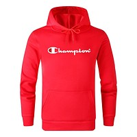 Champion 2019 new letter printing men and women hooded sweater Red