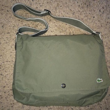 Sale!! LACOSTE Green Olive Large Messenger Bag
