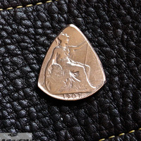 Coin Guitar Pick  - 1907 British Penny Plectrum