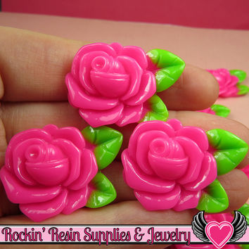 Large Pink Rose with Leaves Resin Flower Cabochons 32mm