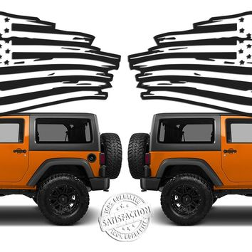 "(2) 6 or 12"" US Flag Vinyl Decals fits: Jeep Wrangler Distressed Grunge American USA hood"