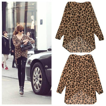 Leopard Print V-neck Chiffon Long sleeve Blouse