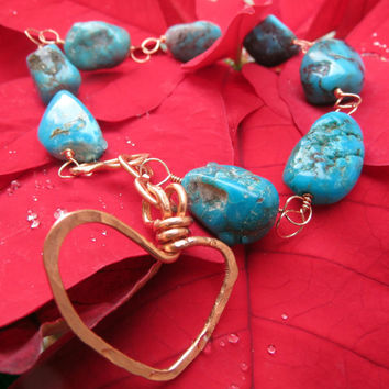 Delicate Turquoise and Copper Bracelet, Wire Wrapped Stone Nuggets, Heart Bracelet, Hammered Copper Jewelry, Valentines Gift