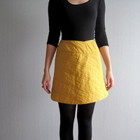 Kenzo skirt small 90s fashion mini skirt vintage yellow mustard silk skirt S