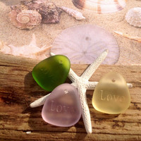 Sea glass beads-love nugget-beach glass pendant-yellow drilled glass-seaglass jewelry-sea beads-bottle glass beads-frosted glass-supplies