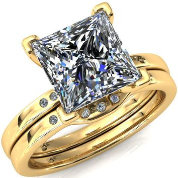 Maise Princess/Square Moissanite 4 Prong Diamond Accent Engagement Ring