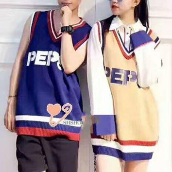 DCCKN6V PEPSI Unisex Fashion Casual Sleeveless V Neck Splicing Loose Waistcoat G-A-XYCL