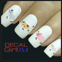 Nail Art Decals 32 Farm Animals Nail Decals