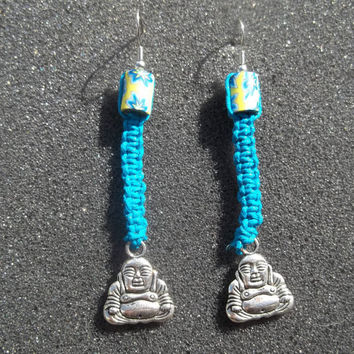 Blue Buddha Hibiscus Hemp Earrings