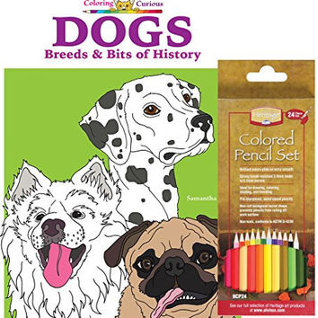 Alvin Heritage Colored Pencil, Set of 24, and Coloring for the Curious Dogs: Breeds & Bits of History Coloring Book by Samantha Cole (Bundle of 2)