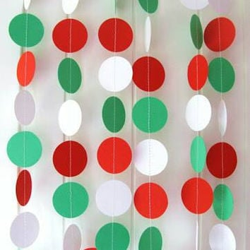 Christmas garland, Christmas decoration, red and green garland, red and green decoration, paper Christmas garland, circle paper garland