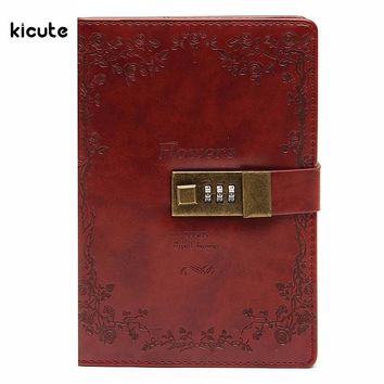 Vintage Red Rose Leather Journal with Lock