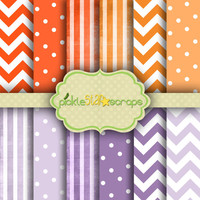 Patterns Vol4 - 12 Digital Scrapbook Papers - 12x12inch - Printable Backgrounds - Stripes Spots Chevron Backgrounds - INSTANT DOWNLOAD
