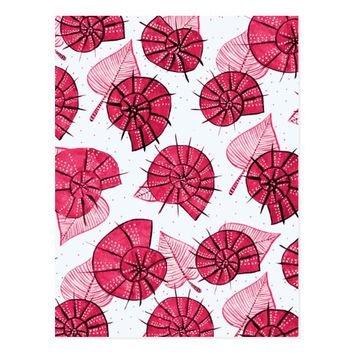 Pink Snails And Leaves Nature Lover Pattern Postcard