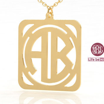 Family monogrammed necklace--1.5 inch plated in gold or rose gold gift necklace