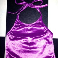 SWEET LORD O'MIGHTY! VELVET HALTER IN PURPLE