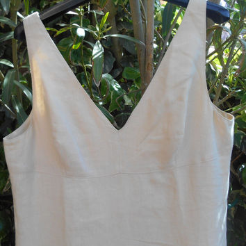 Vintage Bare Back Off- White Linen Dress French by Alain Manoukian Tag