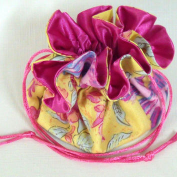 Jewelry Drawstring Travel Bag, Tote, Pouch  Sparrow and Blossoms Extra Large