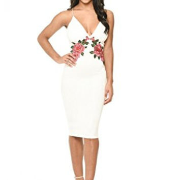 White Strappy Embroidered Bodycon Midi Dress