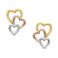 Triple Heart Drop Earrings in 10K Tri-Tone Gold - Earrings - Zales