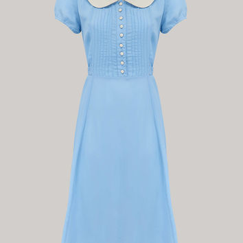 Dorothy Dress in Powder Blue with Ivory Collar by The Seamstress of Bloomsbury | Authentic Vintage 1940's Style