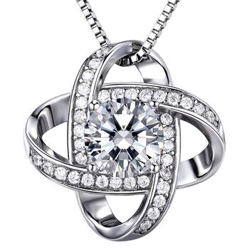 """925 Silver Necklace Women 3A 6mm Cubic Zirconia Gemini Twisted Pendant Italy 18"""" Chain Exquisite Box Valentine's Day Gifts"""