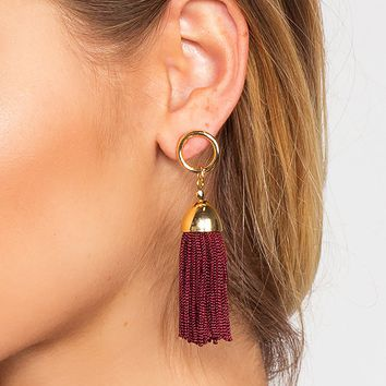 Natalia Tassel Earrings - Burgundy