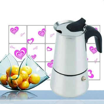 2/4/6-Cup Stainless Steel Coffee Maker Percolator Stove Top Coffee Maker